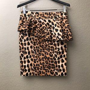 Zara Leopard Print Peplum Pencil Skirt Large